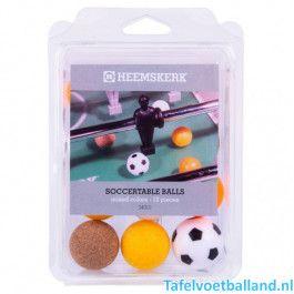 Heemskerk Tafelvoetbal ballen set van 3 kleuren 12 ballen