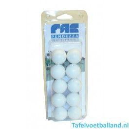 FAS Tafelvoetbal ballen Blister wit 10 stuks